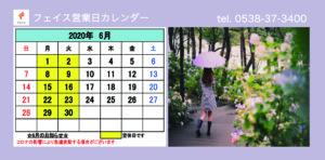 フェイス6月営業日カレンダー